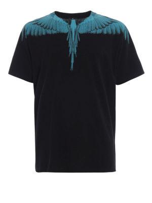Marcelo Burlon: t-shirt - T-shirt nera in cotone con Wings turchesi