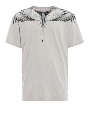 Marcelo Burlon: t-shirt - T-shirt Wings in cotone grigio perla