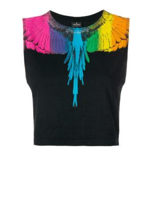 Marcelo Burlon: t-shirt - T-shirt crop Wings senza maniche