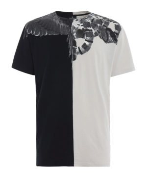 Marcelo Burlon: t-shirt - T-shirt grigia e nera con stampa Wings Snakes