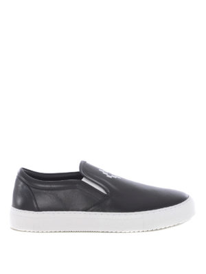 Marcelo Burlon: sneakers - Slip-on in pelle con stampa logo