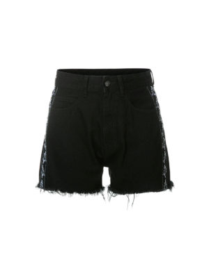 Marcelo Burlon: pantaloni shorts - Shorts Kappa in denim nero