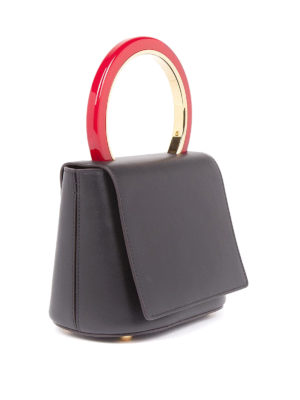 Marni: bowling bags online - Pannier leather hand bag