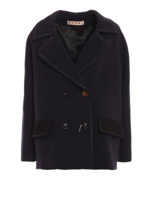 Marni: giacche casual - Giacca doppiopetto in lana blu e nera