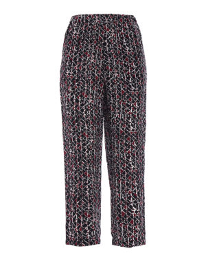 Marni: casual trousers - Cosmos printed silk crop trousers