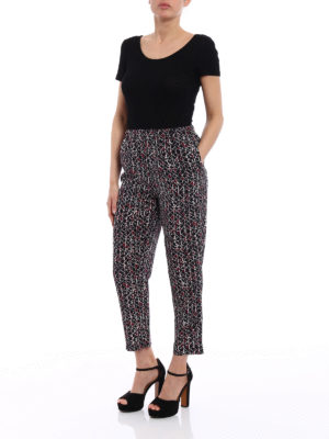 Marni: casual trousers online - Cosmos printed silk crop trousers