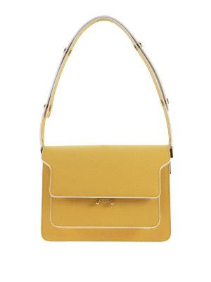 Marni: cross body bags - Yellow Saffiano Trunk Bag