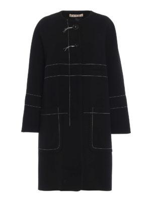 Marni: cappotti al ginocchio - Cappotto over in crepe di lana con impunture