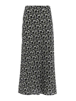 Marni: Long skirts - Floral cady flared long skirt