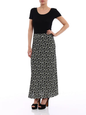Marni: Long skirts online - Floral cady flared long skirt