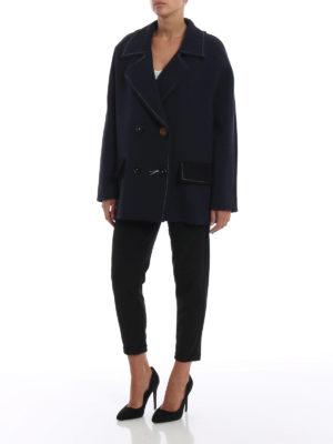 Marni: giacche casual online - Giacca doppiopetto in lana blu e nera