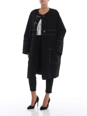 Marni: cappotti al ginocchio online - Cappotto over in crepe di lana con impunture