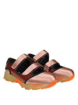 Marni: sneakers online - Slip-on in pelle e satin a blocchi di colore
