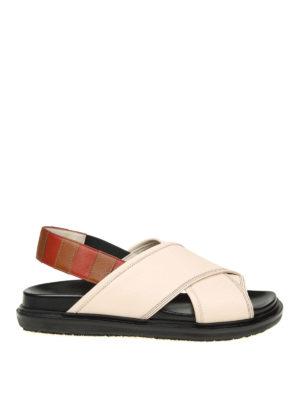 Marni: sandals - Crisscrossed bands leather sandals