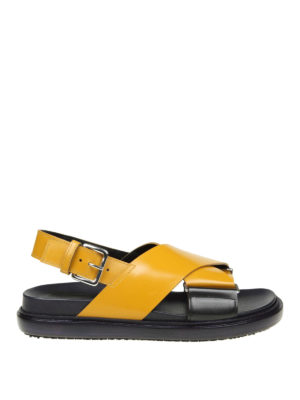 Marni: sandals - Crisscrossed bands yellow sandals