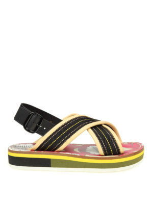 Marni: sandals - Leather and fabric sandals
