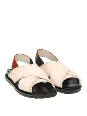 Marni: sandals online - Crisscrossed bands leather sandals