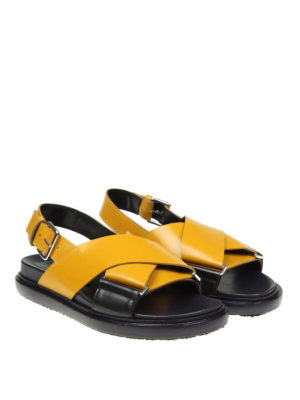 Marni: sandals online - Crisscrossed bands yellow sandals