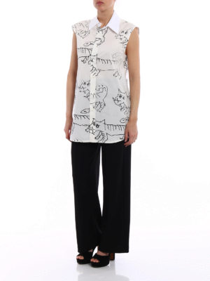Marni: shirts online - Tiger print poplin sleeveless shirt