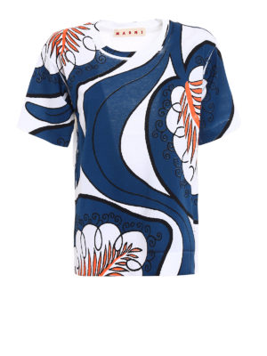 Marni: t-shirts - Pattern printed over T-shirt