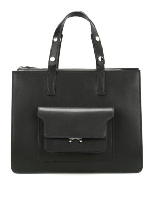 Marni: totes bags - City Trunk smooth leather tote