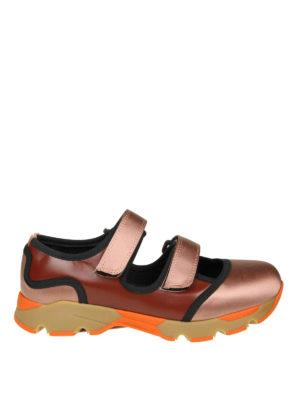 Marni: sneakers - Slip-on in pelle e satin a blocchi di colore