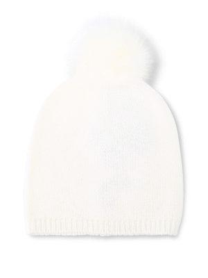 Max Mara: berretti - Berretto Freddy bianco in cashmere e volpe