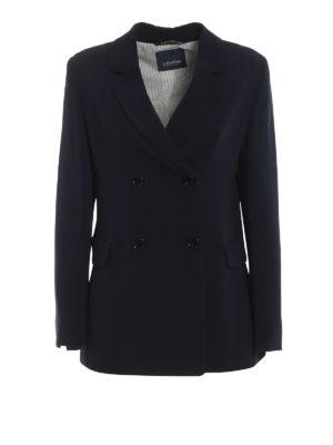 Max Mara: giacche blazer - Blazer doppiopetto Uguale in cady blu
