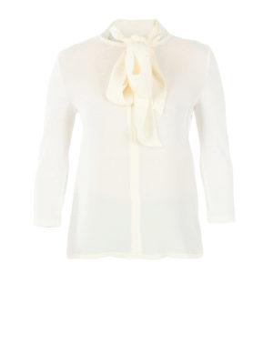 Max Mara: blouses - Autore silk bow collar jersey top