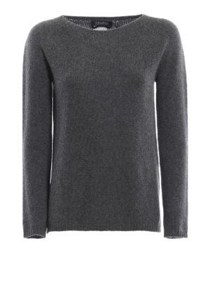 Max Mara: maglia collo a barchetta - Pull Giorgi in cashmere grigio scuro