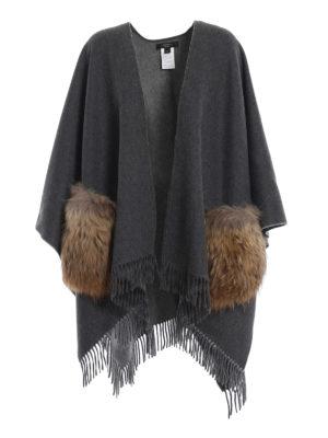 Max Mara: Mantelle e poncho - Mantella Kuens in lana e pelliccia