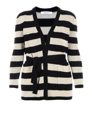 Max Mara: cardigans - Alea striped knitted linen cardigan