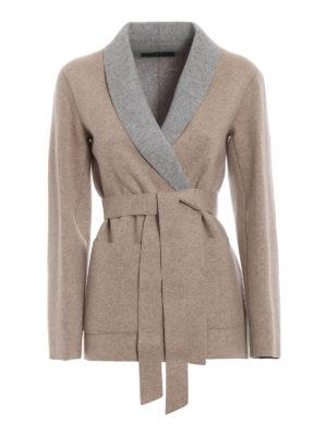 Max Mara: cardigan - Cardigan wrap Desy in jersey di lana bicolore