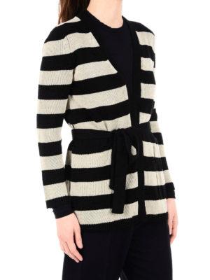 Max Mara: cardigans online - Alea striped knitted linen cardigan