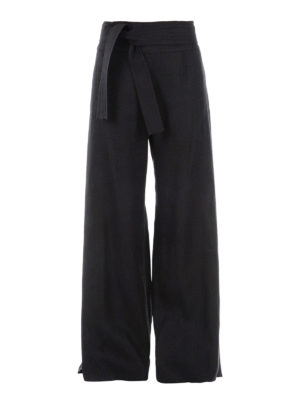 Max Mara: casual trousers - Betta linen wide leg trousers