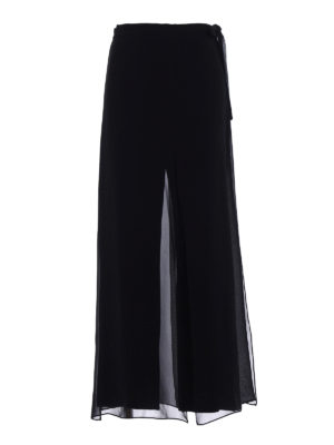Max Mara: casual trousers - Gabarra silk flounce crepe trousers