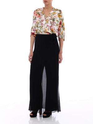 Max Mara: casual trousers online - Gabarra silk flounce crepe trousers