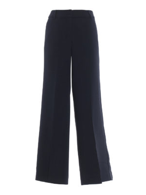 Max Mara: pantaloni casual - Pantaloni palazzo Xiria in cady blu