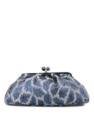 Max Mara: pochette - Pasticcino Bag Maxi in jacquard argento e blu