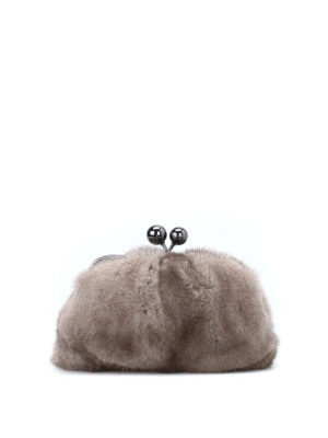 Max Mara: clutches - Patty mini mink clutch