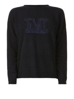 Max Mara: maglia collo rotondo - Girocollo in cashmere con logo a contrasto