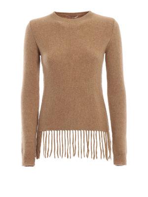 Max Mara: maglia collo rotondo - Maglione Tecnico in misto lana con frange