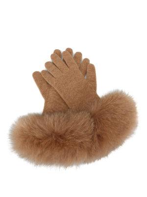 Max Mara: guanti - Guanti beige in cashmere e volpe