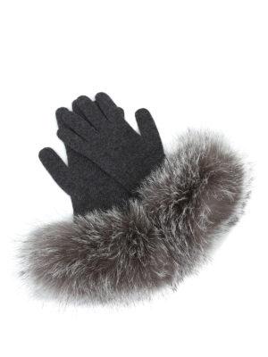 Max Mara: guanti - Guanti in cashmere e volpe grigio scuro