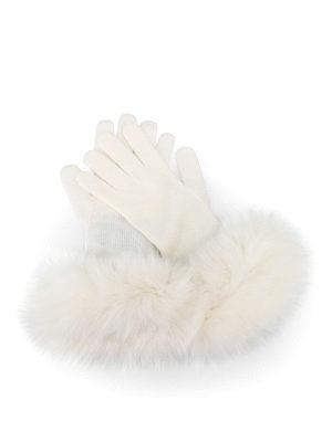 Max Mara: guanti - Guanti bianchi in cashmere e volpe