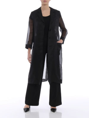 Max Mara: knee length coats online - Soraga black organza coat