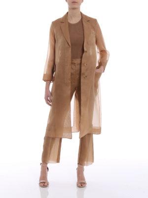 Max Mara: knee length coats online - Soraga camel organza coat
