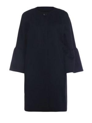 Max Mara: cappotti al ginocchio - Cappotto Perim in pura lana nera con balze