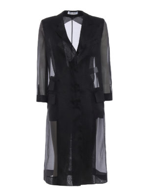 Max Mara: knee length coats - Soraga black organza coat