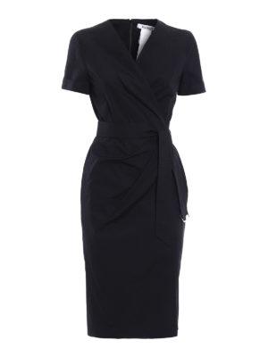 Max Mara: knee length dresses - Dalmine solid black wrap dress